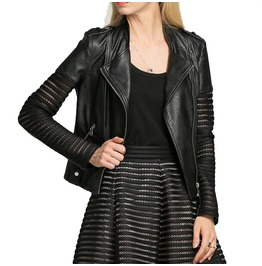 Leather Jacket Lace Sleeves