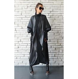 Black Loose Casual Jacket/Oversize Rain Coat/Extravagant Black Robe