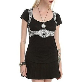 Women Black Step In Time Belted Victorian Top