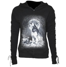 Women Black Laceup Full Zip Glitter White Wolf Hoody