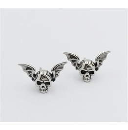 Skull Kito Wings Titanium Steel Earrings Exaggerated Punk Rock Earrings