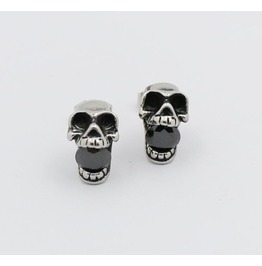 Kito Retro Skull Inlaid Shiny Zircon Earrings Titanium Steel Earrings