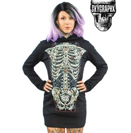 Tattoo Ribcage Womens Hoodie Dress