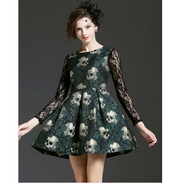 Skull Printing Slim A Word Big Swing Dress