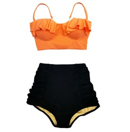 Mysterycat Women Swimwear Orange Top Black High Waist Bottom Swimsuit