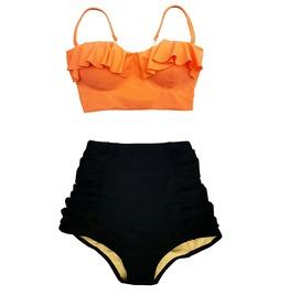 Mysterycat Women Swimwear Orange Top Black High Waist Bottom Swimsuit