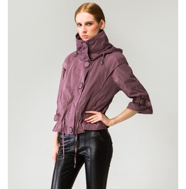 Stylish High Stand Collar Large Buttons Hooded Short Jacket