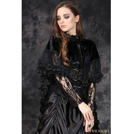 Black Gothic Lolita Style Short Hooded Cape