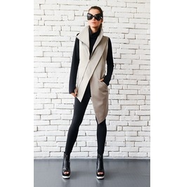 Beige Elegant Zipper Vest/Asymmetric Casual Long Top/Extravagant Tunic