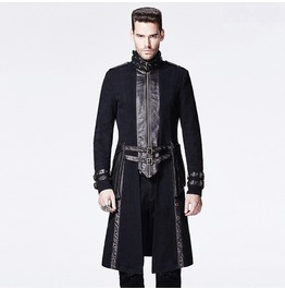 Punk Rave Gothic Men's High Collar Overcoat Y 589