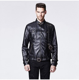 Punk Rave Men's Punk Killer Faux Leather Motorcycle Jacket Black Y 592
