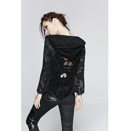 Punk Rave Women's Spider Web Skull Hooded Jacket Y 235