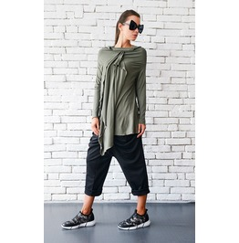 Khaki Loose Tunic/Asymmetric Oil Green Top/Extravagant Casual Shirt