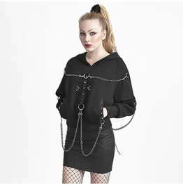 Punk Rave Women's Punk Cross Mental Chain Hoodies Black Y 612