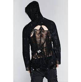 Punk Rave Men's Spider Web Skull Hooded Jacket Y 235