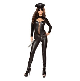 Sexy Lady Cop Police Officer Fetish Catsuit Halloween Costume
