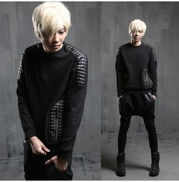 Autumn New Fashion Faux Leather Spliced Crewneck Sweatshirts