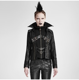 Women's Gothic Stand Collar Buckle Up Faux Leather Jacket Black Y 254