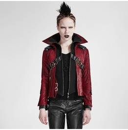 Women's Gothic Stand Collar Buckle Up Faux Leather Jacket Red Y 254