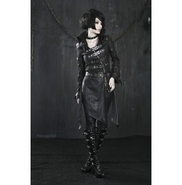Gothic Women's Skull Buckle Up Faux Leather Parka Coat With Belt Y 261