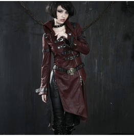Gothic Women's Skull Buckle Up Faux Leather Parka Coat With Belt Red Y 261