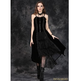 Black Gothic Punk Velet Dress With Jacquard Lace