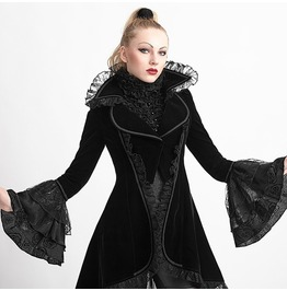 Punk Rave Gothic Women's Flare Sleeve Lace Up Swallow Tail Overcoat Y 622