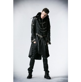 Gothic Men's Skull Buckle Up Faux Leather Parka Coat With Belt Y 261
