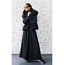 Black Maxi Coat/Winter Casual Jacket/Black Short Coat/Hooded Cardigan