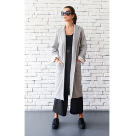 Grey Maxi Coat / Long Loose Jacket / Casual Pocket Coat / Folded Sleeve Top