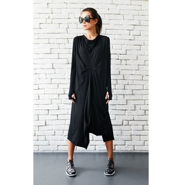 Maxi Black Dress / Loose Draped Dress / Thumb Hole Sleeve Maxi Dress
