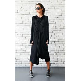 Maxi Black Dress / Loose Draped Dress / Thumb Hole Sleeve Maxi Dress
