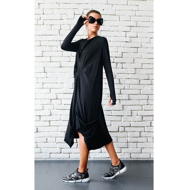 Tunic dress with large cowl style hood and extra long thumb hole sleeves. Super soft, medium weight, Black cotton spandex jersey. Exposed seam/rolled hem details run down the sleeves. This is the ORIGINAL design. **A company in China stole my photos of this tunic dress.