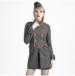 Women's Gothic Military Style Double Breasted Woolen Overcoat Grey Y 624