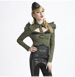 Punk Rave Women's Gothic Military Style Puff Sleeve Coat Green/Black Y 625