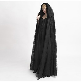 Punk Rave Women's Gothic Hooded Lace Long Witch Cloak Cape Y 629