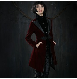 Punk Rave Gothic Women's Chinese Knot Overcoat Red Y 377