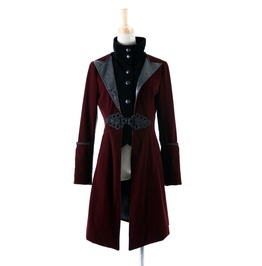 Punk Rave Gothic Victoria's Women's Faux Leather Lapel Overcoat Red Y377