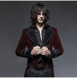 Men's Gothic Victorian Scissors Tail Velour Overcoat Red Y 635
