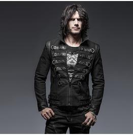 Punk Rave Men's Military Style Lace Up Jacket Black Y 637