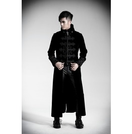 Punk Rave Gothic Men's Stand Collar Chinese Knot Velveteen Maxicoat Y 401