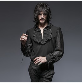 Punk Rave Gothic Men's Victorian Button Up Tops Black Y 639