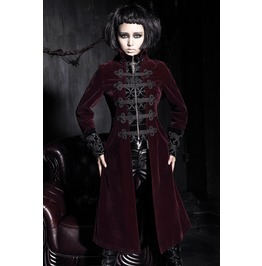 Gothic Women's Stand Collar Chinese Knot Velveteen Maxicoat Red Y 401