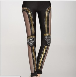 Heavy Metal Punk Rock Nightclub Stage Rhinestone Stitching Leggings