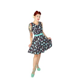 Sugar Skull Cat And Fishbowl Dress