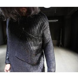 Mens Coating Damage Long Knist Sweatshirts