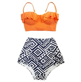 Women Swimwear Orange Top Black Purple Graphic High Waist Bottom Swimsuit