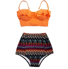 Mysterycat Women Orange Top Tribal High Waist Bottom Swimsuit Midkini New