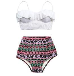 Mysterycat Women Vintage Swimwear White Top Purple Bottom Swimsuit New