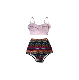 Mysterycat Women Vintage Swimwear Purple Top Tribal Red Bottom Swimsuit New